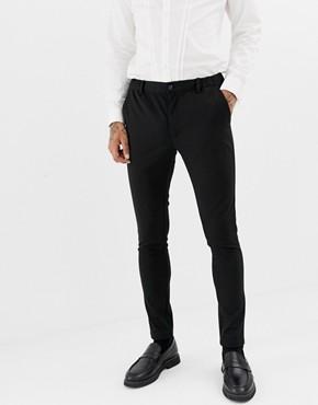 Devils Advocate Super Skinny Plain Suit Trousers - Black