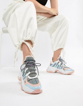 Jeffrey Campbell pastel check chunky trainers