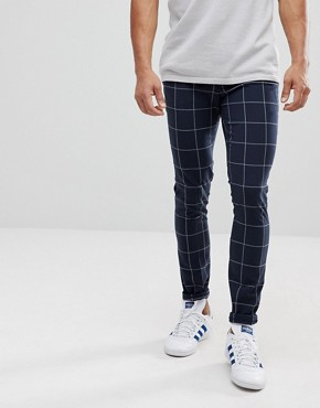 ASOS DESIGN super skinny smart trousers in navy check with turn up - Navy