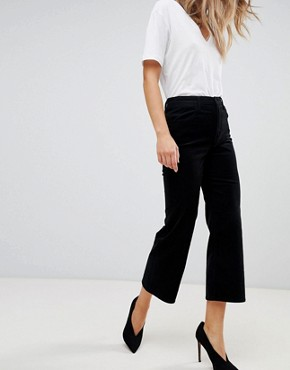 J Brand Joan high rise corduroy cropped wide leg jean - Black