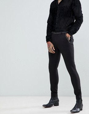 ASOS DESIGN super skinny suit trousers in black with stud detail - Black