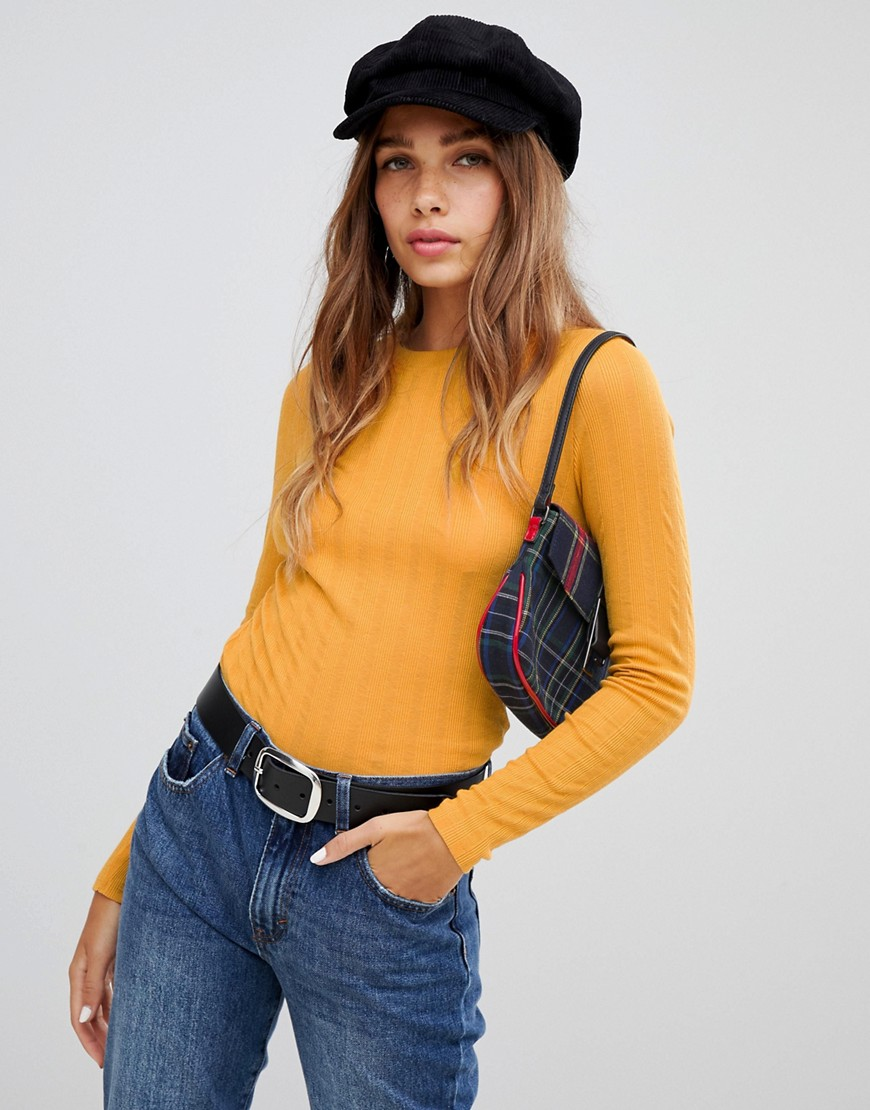 New Look crew neck top with rib in yellow - Mustard