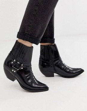 Jeffrey Campbell harness mid heel western boot
