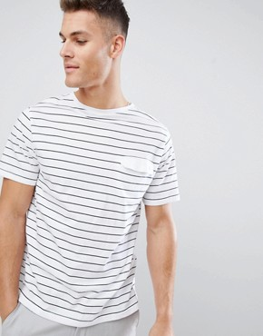 FoR t-shirt with boat neck in white stripe - White