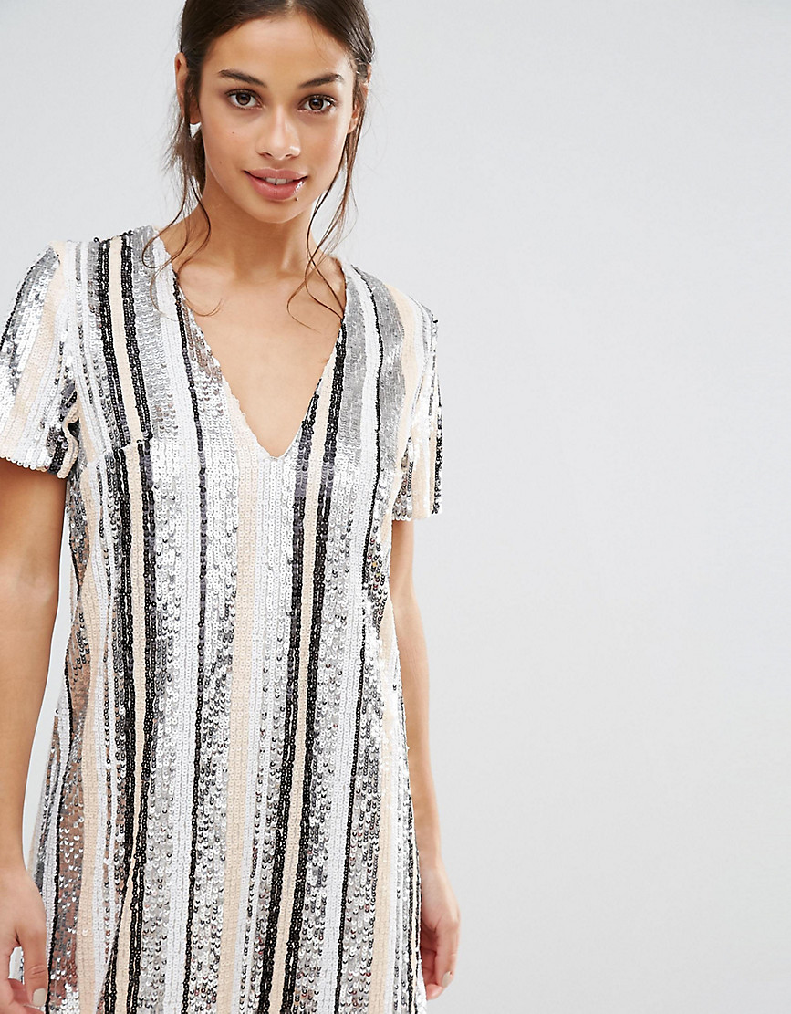 Missguided Petite Sequin Stripe Mini Dress
