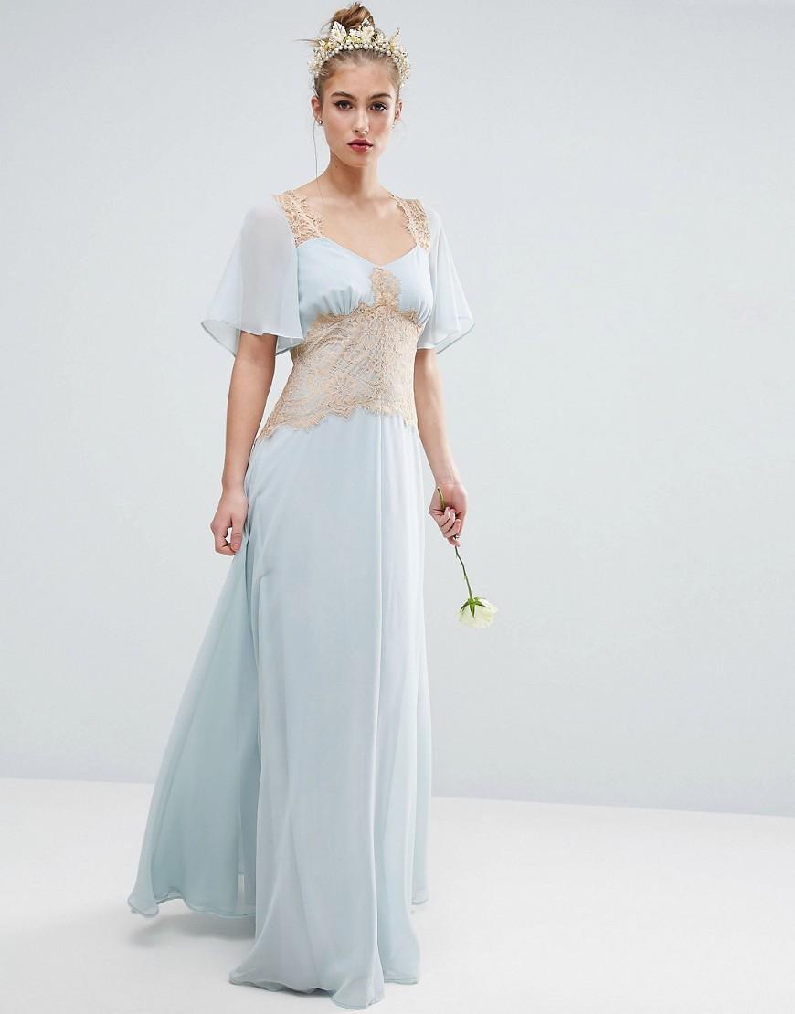 ASOS WEDDING Contrast Lace Panel Maxi Dress