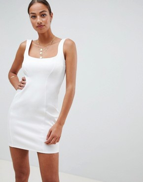 ASOS DESIGN scuba 90s scoop neck mini dress - Ivory