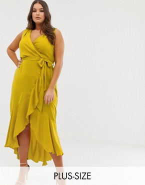 Flounce London Plus wrap front midaxi dress in chartreuse