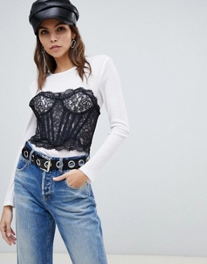 Miss Sixty bralet detail long sleeve top - White