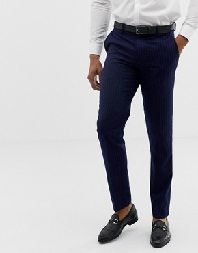 Harry Brown mid-blue chalk pinstripe slim fit trousers