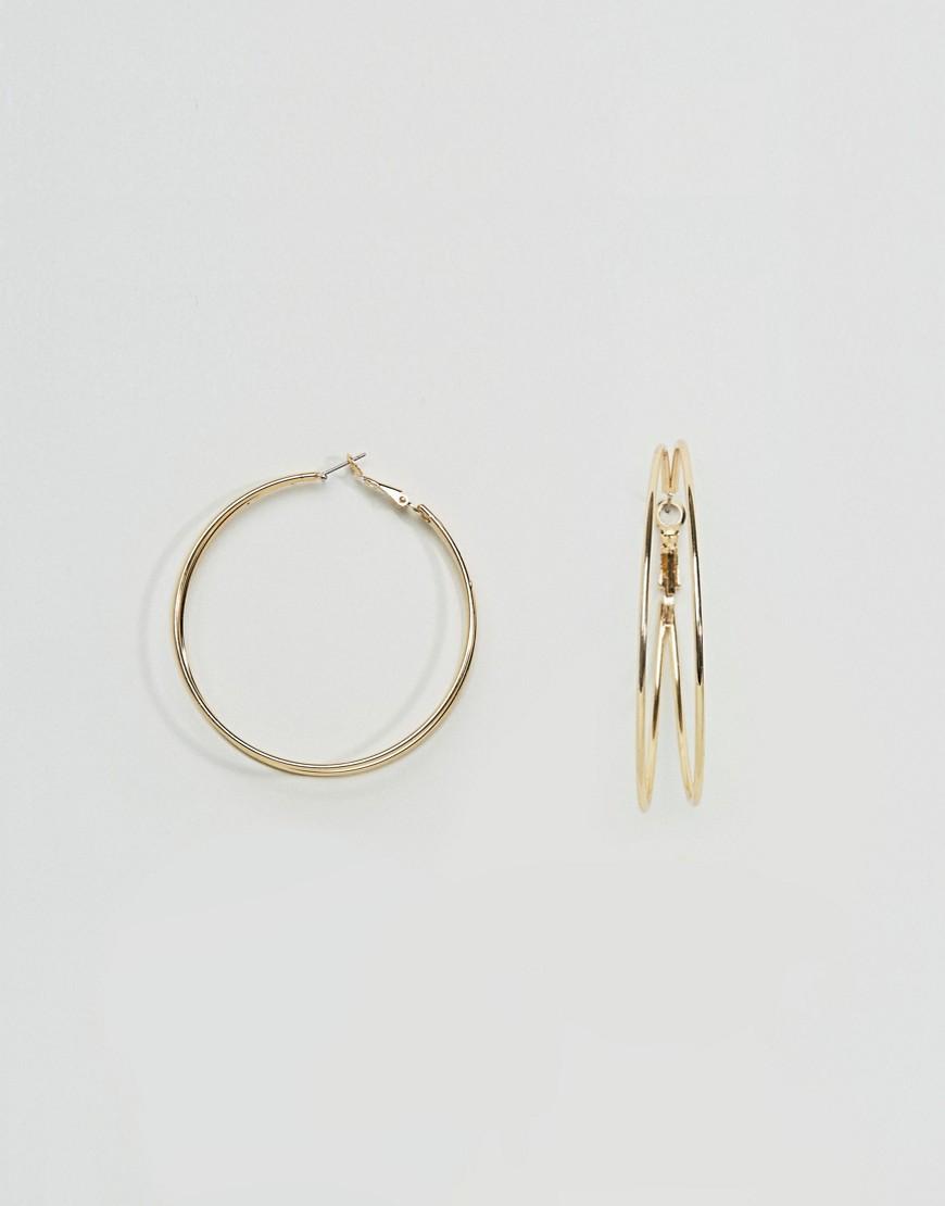ASOS Double Loop 58mm Hoop Earrings - Gold