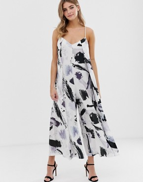 ASOS DESIGN rope detail minimal jumpsuit in brushstroke print