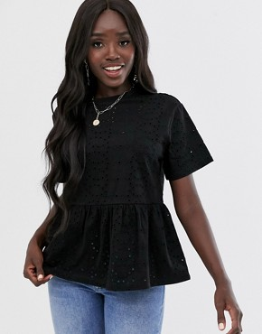 ASOS DESIGN smock top in broidery in black