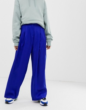 Weekday wide leg trousers in bright blue