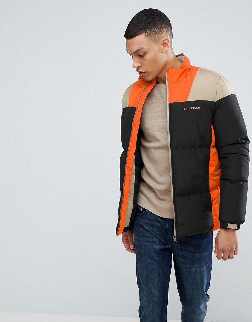 BELLFIELD Puffer Jacket In Color Block - Black