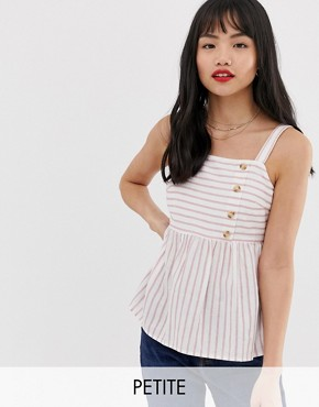Vero Moda Petite stripe button side top