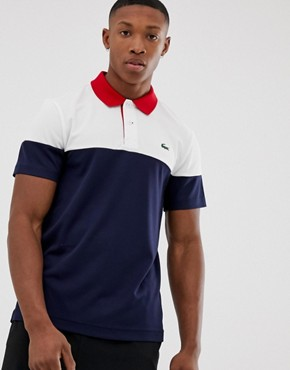 Lacoste Sport Logo Polo Contrast Collar in Navy