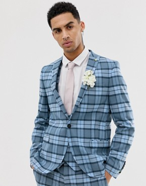 Twisted Tailor super skinny suit jacket in blue check - Blue