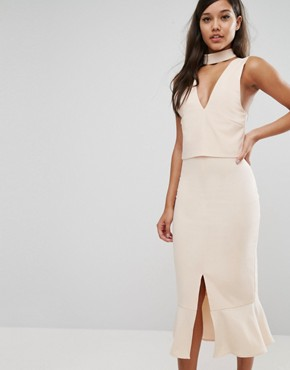 Lavish Alice Choker Detail Flounce Hem Midi Dress - Light nude