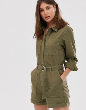 Weekday denim utility playsuit in khaki green