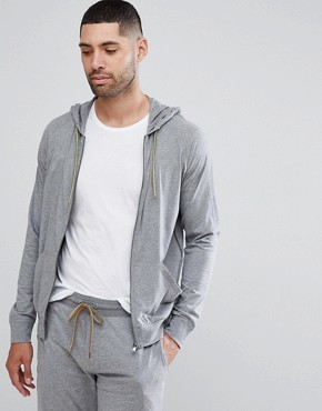 Paul Smith Lounge Jersey Hoodie In Grey Marl - Grey