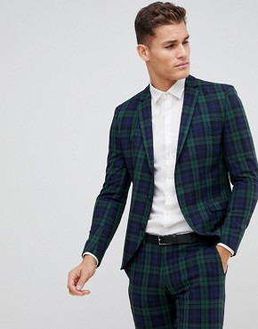 Selected Homme Blackwatch Green Check Suit Jacket In Skinny Fit