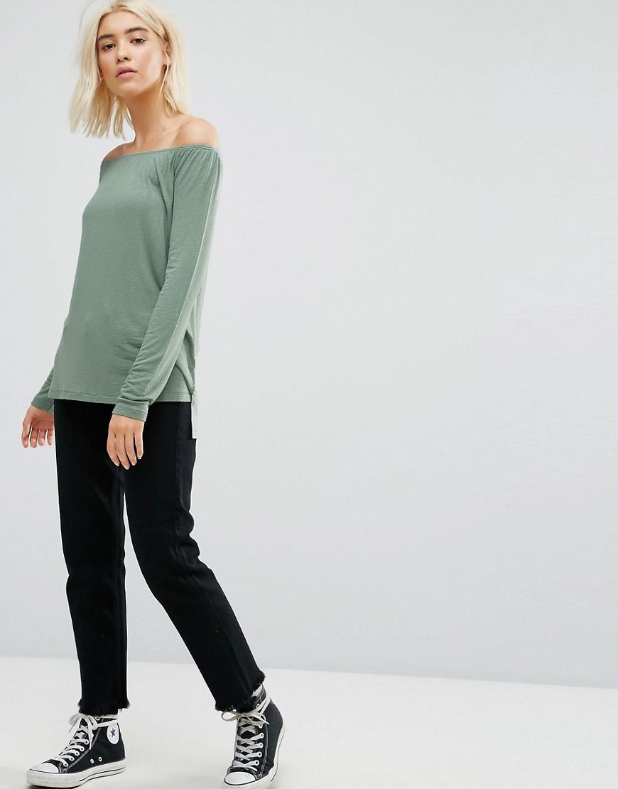 T-shirt Verde donna Top ampio con spalle scoperte Verde ASOS