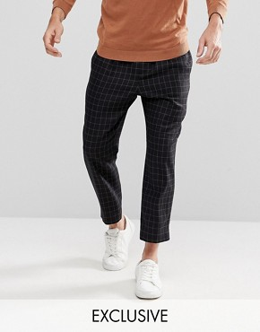 Noak Wide Leg Trouser in Grid Check - Black