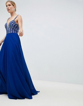 Jovani Deep Plunge Embellished Maxi Dress - Blue
