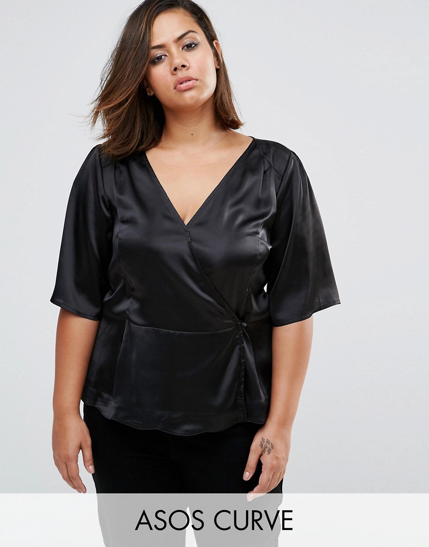 1930s Style Tops, Blouses & Sweaters ASOS CURVE Wrap Tea Blouse in Satin - Black $19.50 AT vintagedancer.com