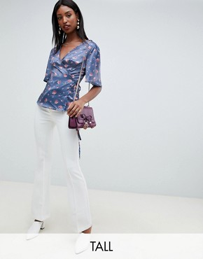 Fashion Union tall wrap top in romantic floral - Steel rose