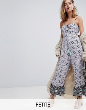 Sisters Of The Tribe Petite Wide Leg Jumpsuit In Ditsy Floral Print