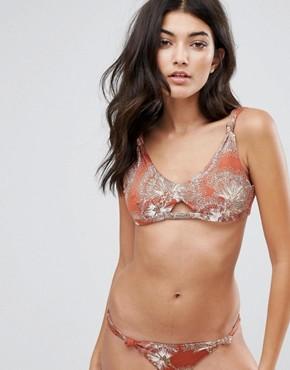 Somedays Lovin Knot Cut Out Printed Bikini Top - Terracotta