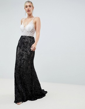 Jovani Contrast Lace Maxi Dress - White