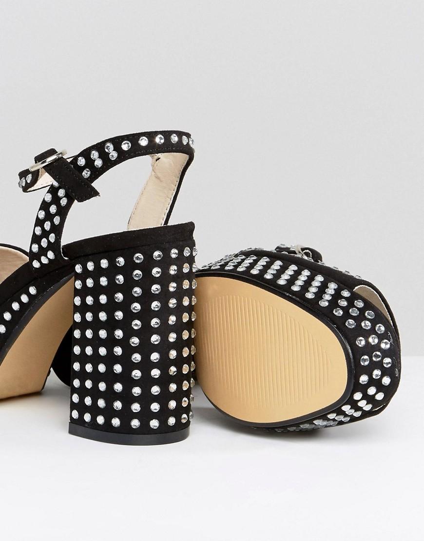 Sandalo Nero donna Sandali con tacco e plateau con pietre argento Nero Truffle Collection