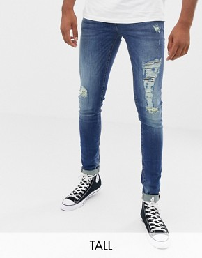 Blend distressed super skinny jeans in dark wash
