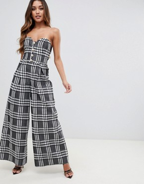 ASOS DESIGN bandeau jumpsuit with wide leg and button detail in dogtooth - Multi