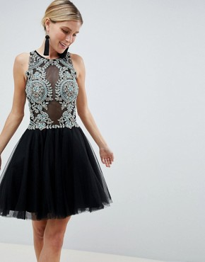 Jovani Embellished Mini Prom Dress - Black