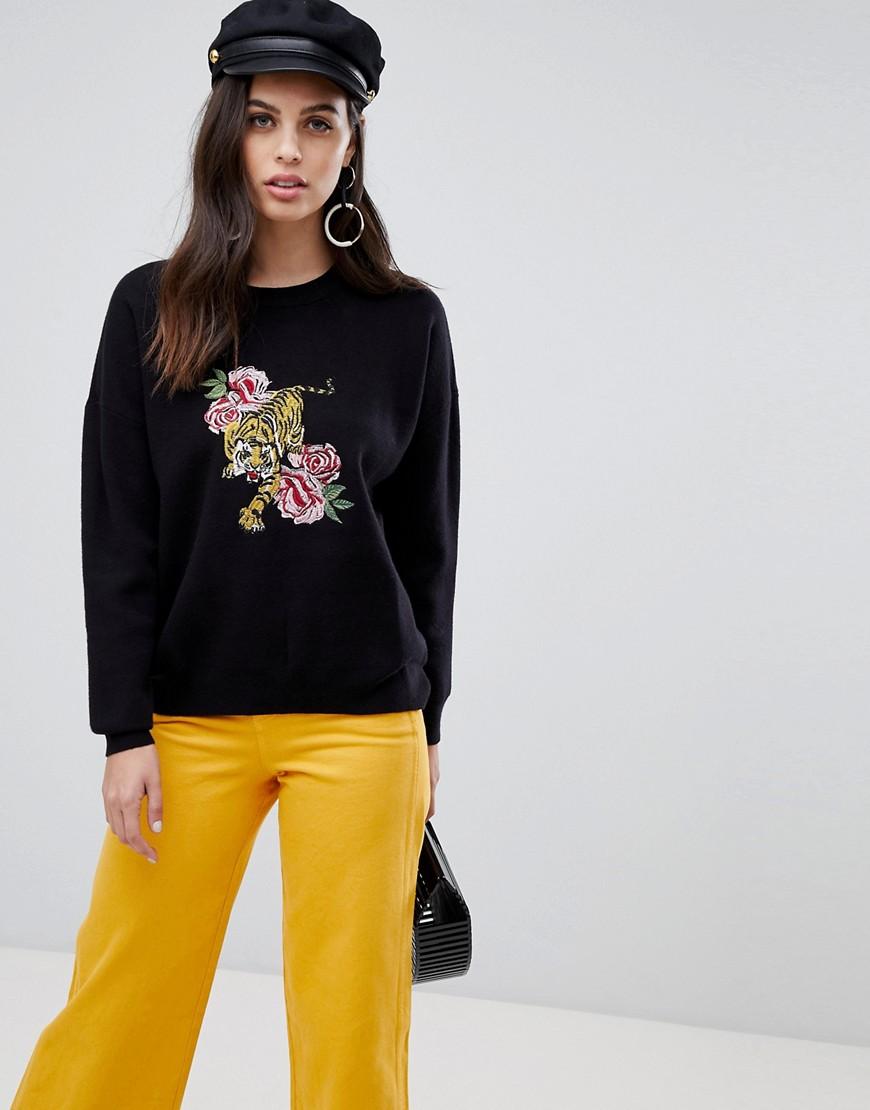 LIQUORISH Tiger And Flower Embroidered Sweater - Black