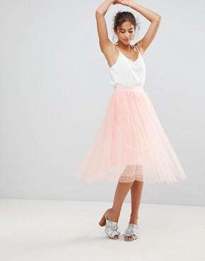 New Look Tulle Bead Midi Skirt - Light pink