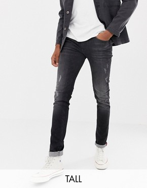 Blend distressed slim fit jeans in washed black