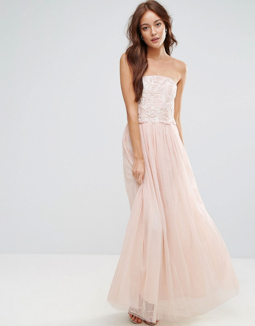 Little Mistress Tulle Maxi Dress With Floral Applique Bodice