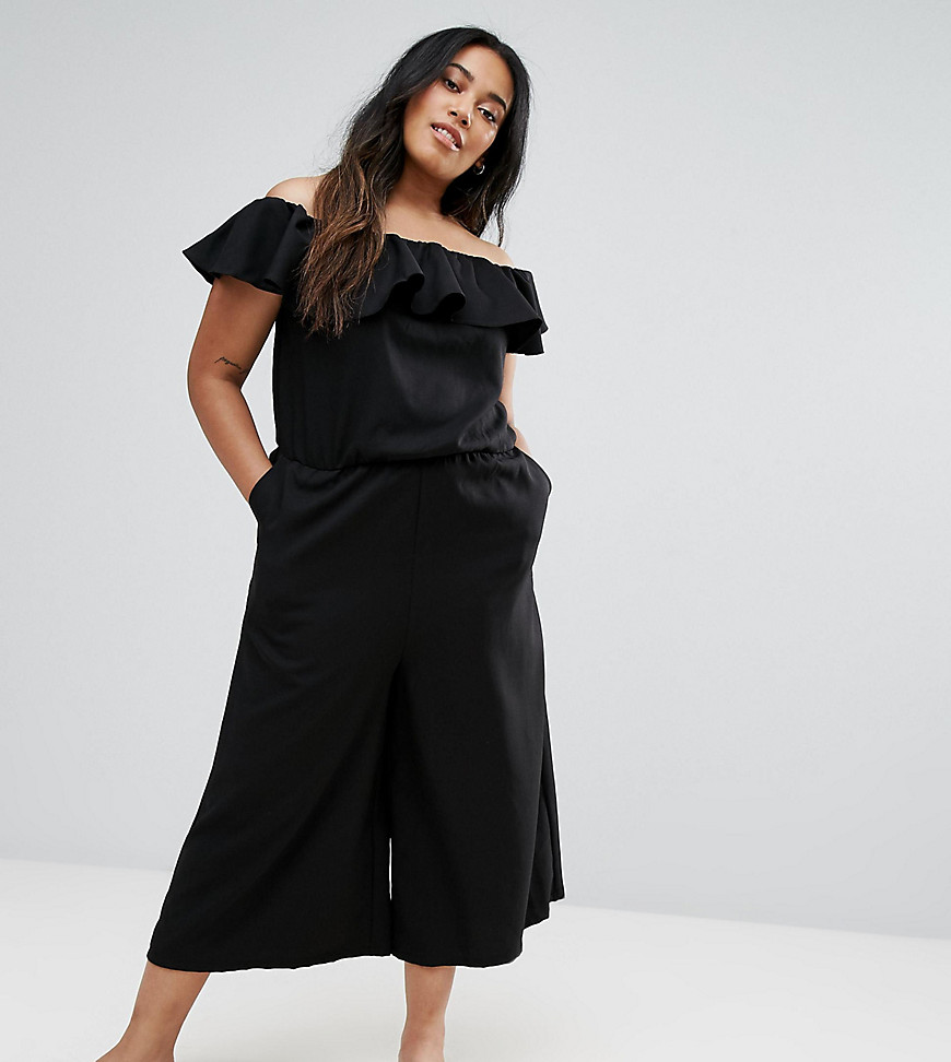 Product photo of New look curve ruffle culotte jumpsuit black
