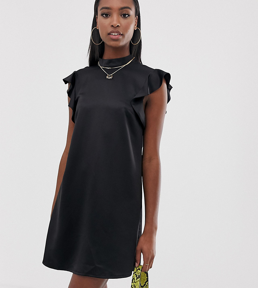 Product photo of Missguided tall satin frill dress in black