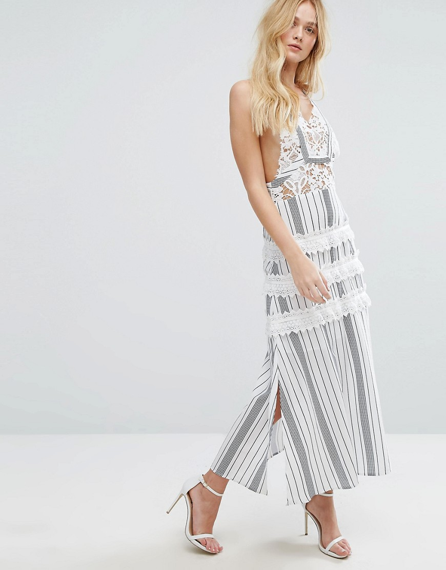 Aeryne Maxi Dress With Lace Detailing And Ruffle Panels