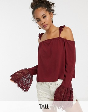 Kiss The Sky Tall Cold Shoulder Strappy Top With Lace Fluted Sleeves