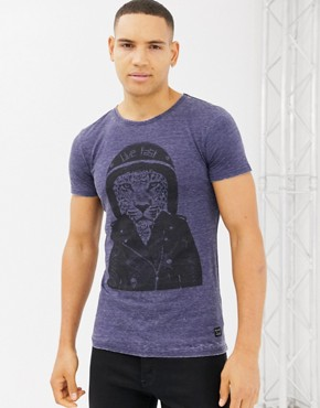 Blend slim fit t-shirt with motorbike tiger