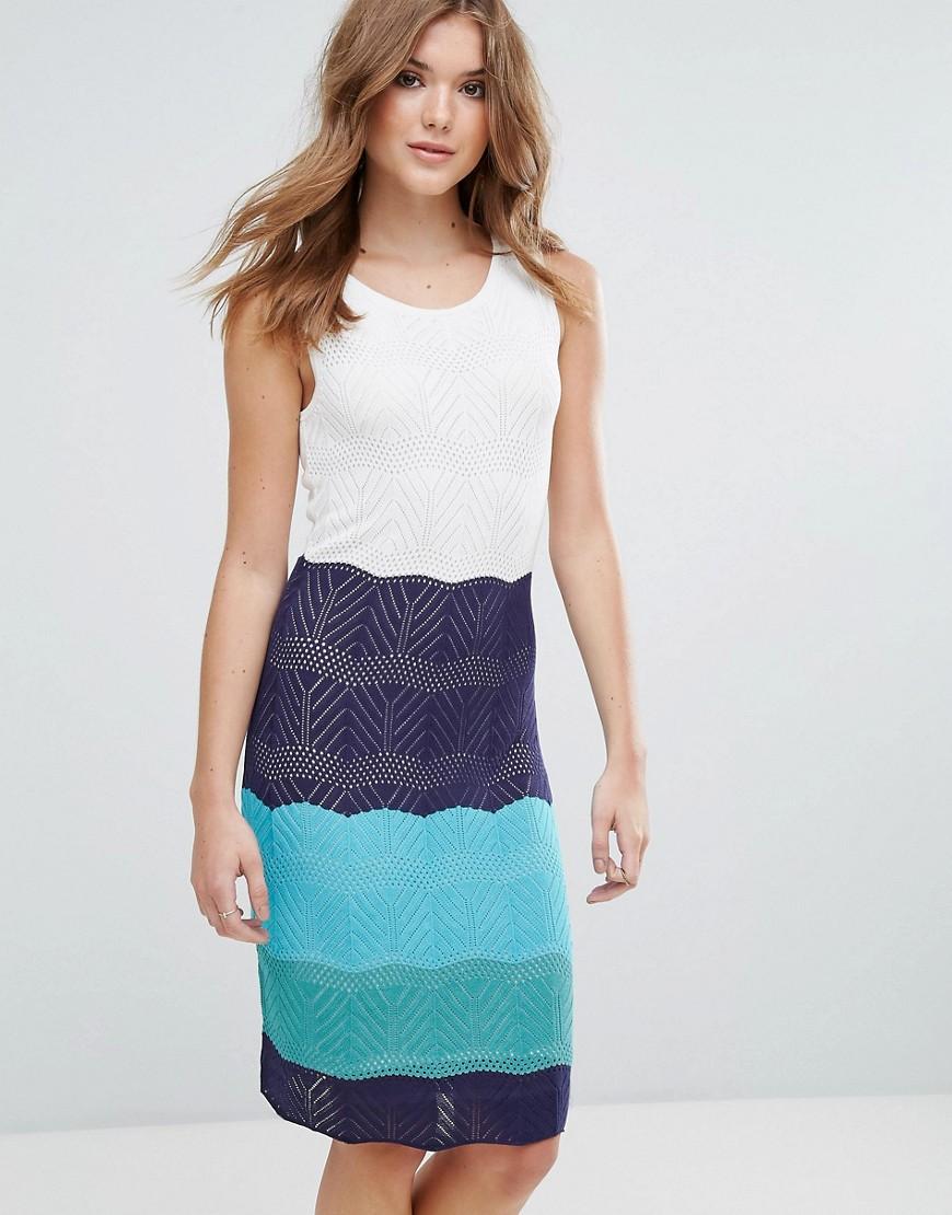 Lavand Colourblock Knitted Midi Dress