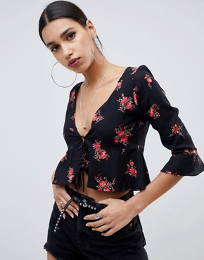 Motel tie front blouse in floral