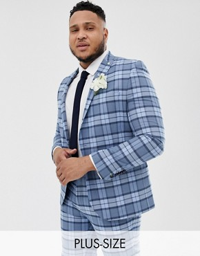 Twisted Tailor super skinny suit jacket in light blue check - Blue
